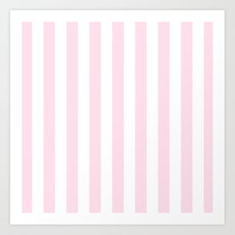 Simple Pink and White stripes, vertical Art Print