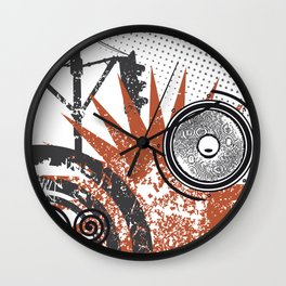 Fantasy on a city theme on a white background Wall Clock