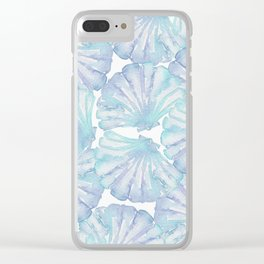 Shell Ya Later - Turquoise Seashell Pattern Clear iPhone Case