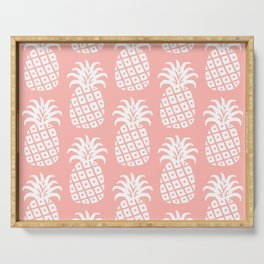Retro Mid Century Modern Pineapple Pattern Peach 2 Serving Tray