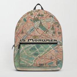 Vintage Paris Map France Backpack