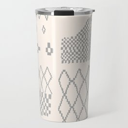 Moroccan Patchwork in Cream and Grey Travel Mug