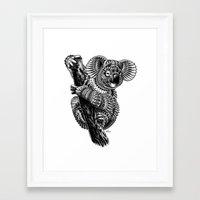 ornate Framed Art Prints featuring Ornate Koala by BIOWORKZ
