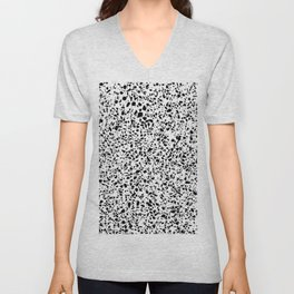 Black and White Dalmatian Pattern Dots Terrazzo Print Unisex V-Neck