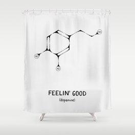 Dopamine Molecule - Feelin' Good - Black Ink Shower Curtain