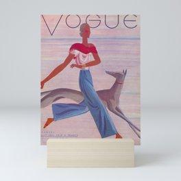 Woman with Dog Running Mini Art Print