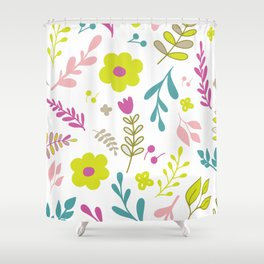 Colorfull flowers on white Shower Curtain