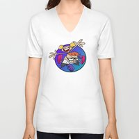 lab V-neck T-shirts featuring Dexter's Lab! by InvaderDig