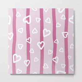 White hearts doodles on pink striped background Metal Print