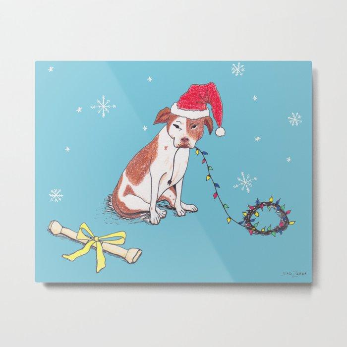 Santa Pup Metal Print