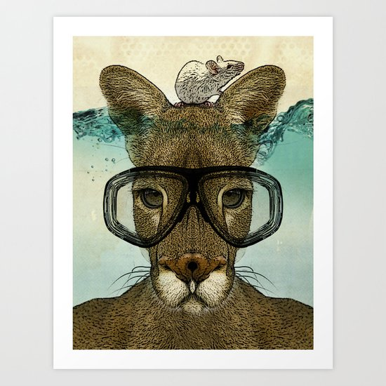Skuba Roo and a white mouse Art Print