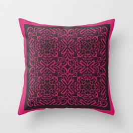 Courage of her Conviction Tiled - Fuchsia Black Throw Pillow
