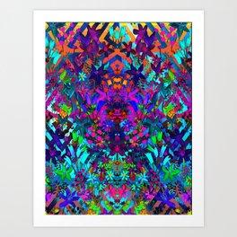 Psycedelic Floral Geo Print Art Print