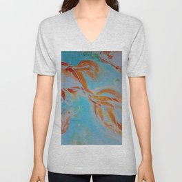 GoldFish Bubbles 1nw watercolor by CheyAnne Sexton Unisex V-Neck