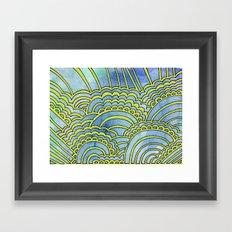 Water & Color Drawing Meditation - Lime Framed Art Print