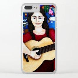 Violeta Parra and her guitar Clear iPhone Case