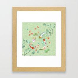 Watergarden with koi - green Framed Art Print