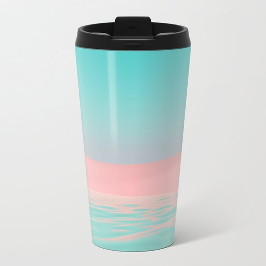 Pink Beach Metal Travel Mug