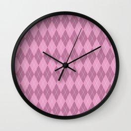 Pink Plaid Wall Clock