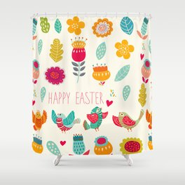 Ivory teal orange floral birds Happy Easter typography Shower Curtain