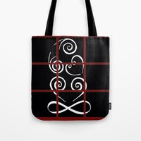 tiki Tote Bags featuring Tiki by Alison McLean