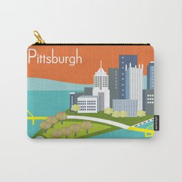 Pittsburgh, Pennsylvania - Skyline Illustration by Loose Petals Carry-All Pouch