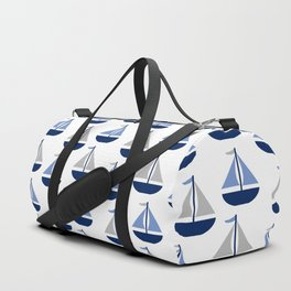 Nautical Sailboat Navy Blue Gray  Duffle Bag