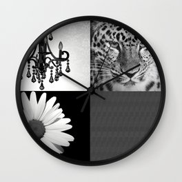 Grayscale Girly Square Collage Wall Clock