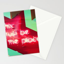This Must Be The Place Neon Sign Glitch Aesthetic Stationery Cards