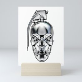Skull grenade silver Mini Art Print