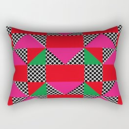 Houses with a Red Body and a Pink Roof, in a dotted synthetic grass. Rectangular Pillow