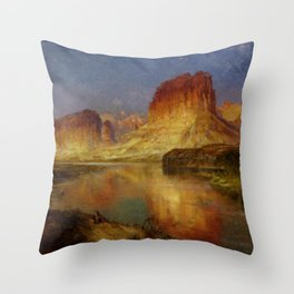 Green River Wyoming 1878 By Thomas Moran | Watercolor Landscape Reproduction Throw Pillow