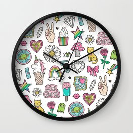 Patches Stickers 90's Doodle Unicorn Ice Cream, Rainbow, Hearts, Stars, Gemstones,Flowers White Wall Clock