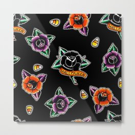 Halloween Roses Pattern Metal Print