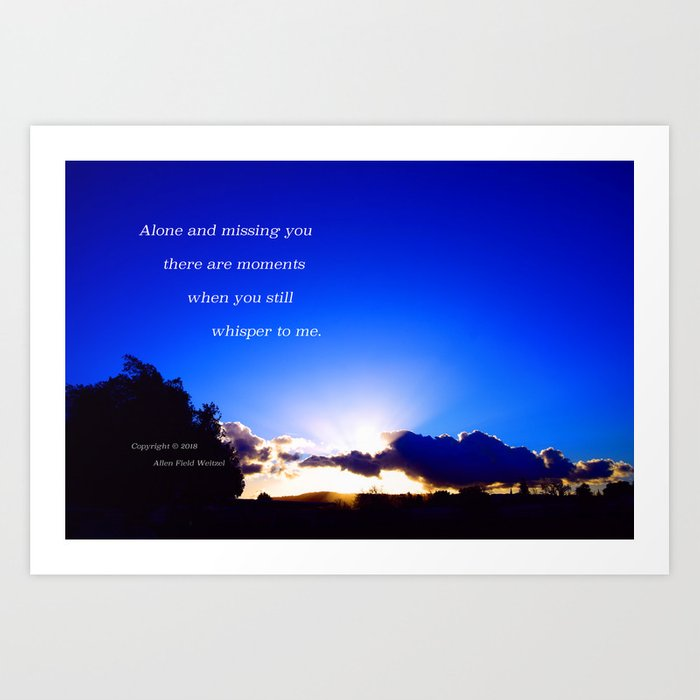 """""""Flickering Sunset"""" with poem: There Are Moments Art Print"""