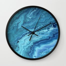 Teal Geode: Acrylic Pour Painting Wall Clock