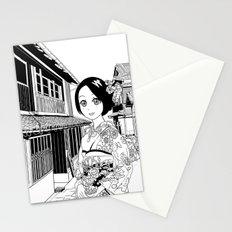 Kimono girl (manga style drawing) Stationery Cards