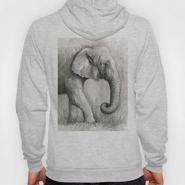 Elephant Black and White Watercolor Animals Hoody