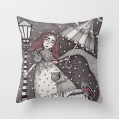 Alice's First Snow Throw Pillow
