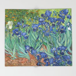 Irises - Vincent Van Gogh Throw Blanket