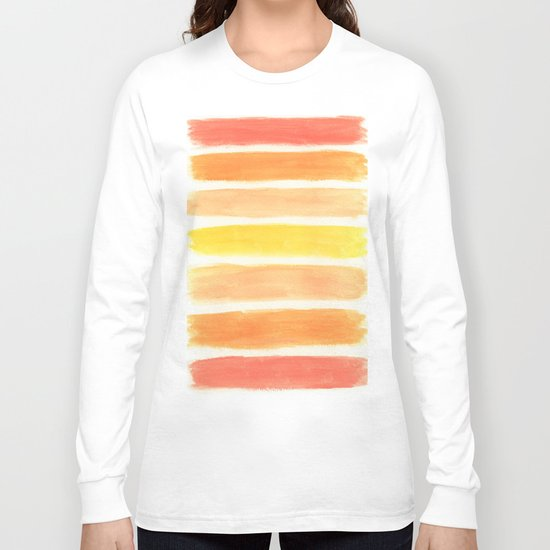 Orange Striped Abstract Long Sleeve T-shirt