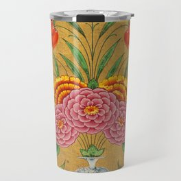 Flower arrangement and scrollwork -Vintage Indian Art Print Travel Mug