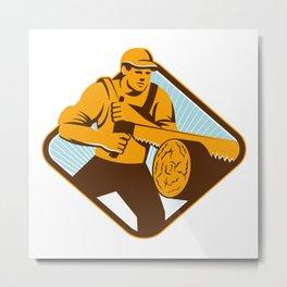 Lumberjack Logger Crosscut Saw Retro Metal Print