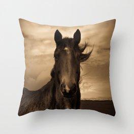 English horse in sepia tones Throw Pillow