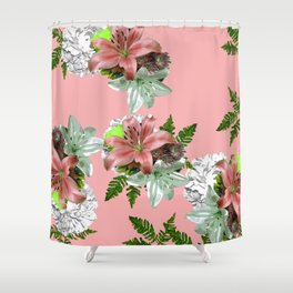 LILY PINK AND WHITE FLOWER Shower Curtain