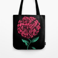 beauty and the beast Tote Bags featuring Beauty And The Beast by Anwar Rafiee