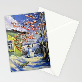 Morning snowman in the village Stationery Cards