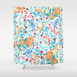 Good Fortune Asian Floral Pattern With Orange Blossoms Shower Curtain