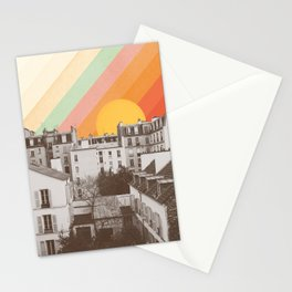 Rainbow Sky Above Paris Stationery Cards