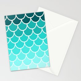 Ombre Fish Scale Pattern Stationery Cards